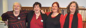 von li. nach re.: Ulrike Biefert, Astrid Ann Jabusch Anja Feldhorst und Uschi Kurz